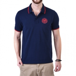 Royal Enfield Pin Stripe Tipping Polo Shirt Navy