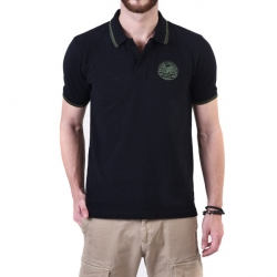 Royal Enfield Pin Stripe Tipping Polo Shirt Black
